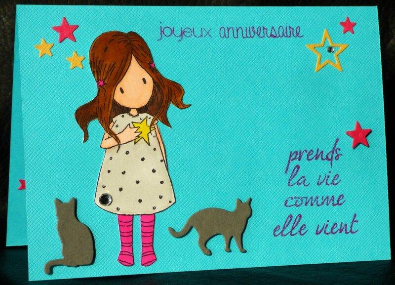 carte d'anniversaire avec fillettes et chatons