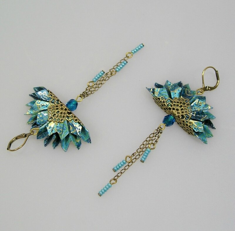Boucles d'oreilles origami paon bleu indico 3
