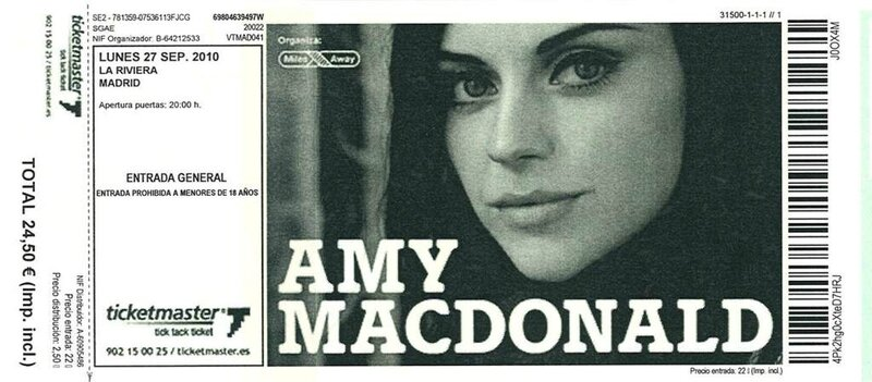 2010 09 Amy McDonald La Riviera Billet