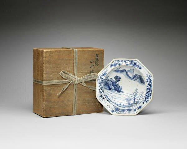 A blue and white 'Ko-sometsuke' octagonal dish, Tianqi