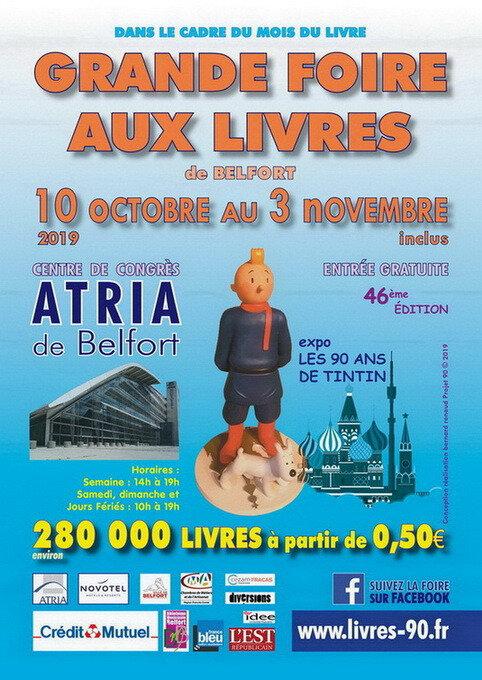 """Hergé : Exposition """"Les 90 ans de Tintin"""" à la Foire aux livres de Belfort du 10/10 au 03/11/2019"""