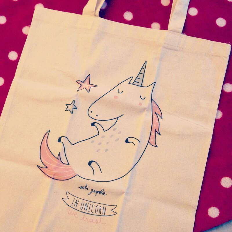 Tote bag Unicorn, Bird on the Wire