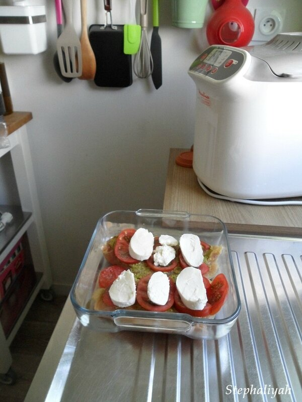 Escalopes poulet pesto, tomates et mozza - 3