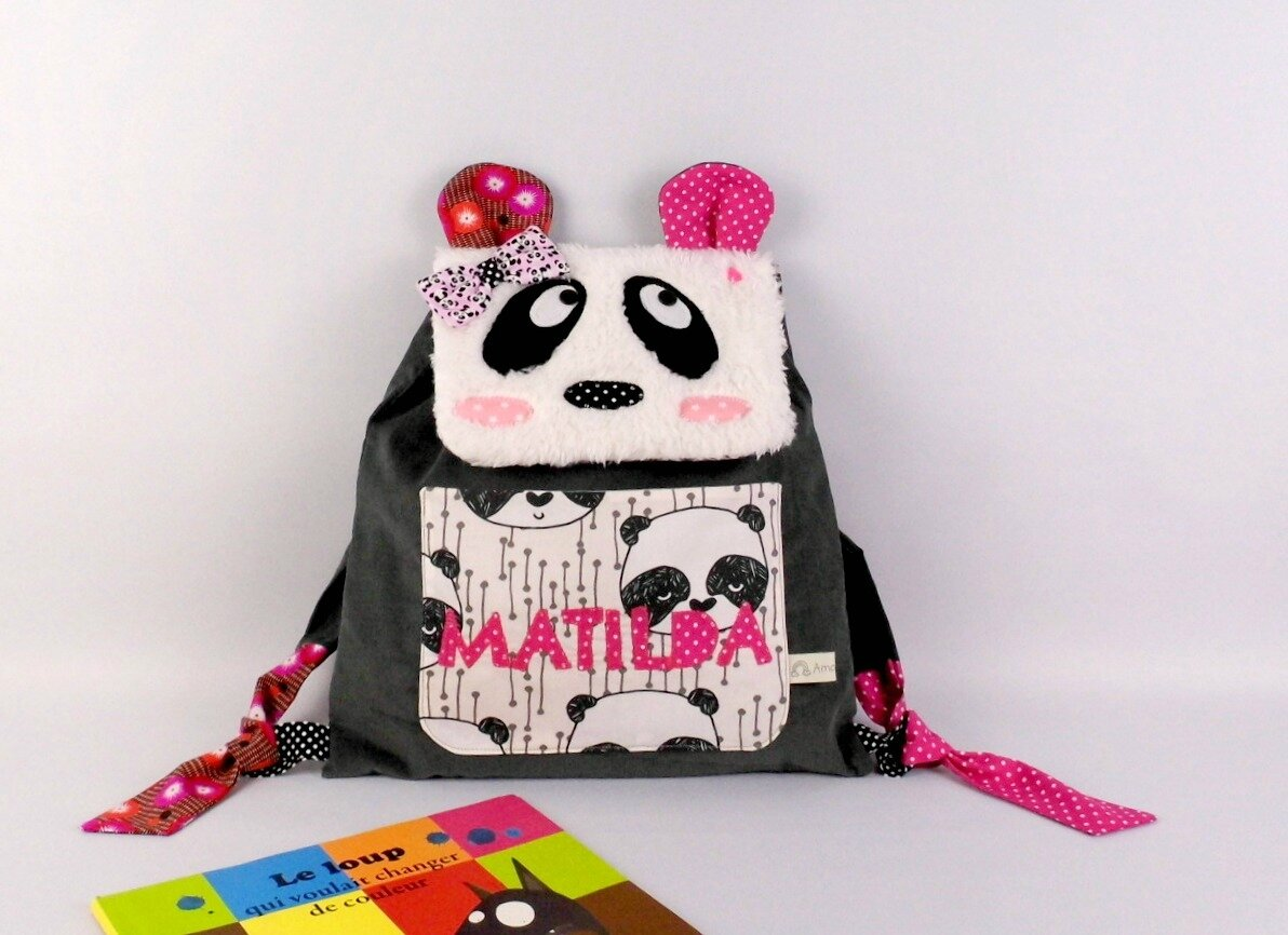Sac maternelle fille prénom Matilda sac à dos panda personnalisable toddler backpack panda personalized name