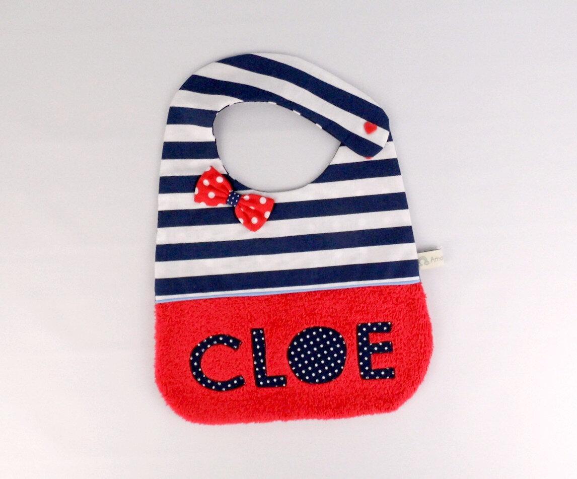 Bavoir fille personnalisé prénom Cloe bavoir bebe personnalisable style marine rouge bleu navy cadeau baptême personnalisé baby bib personalized name red navy baby gift
