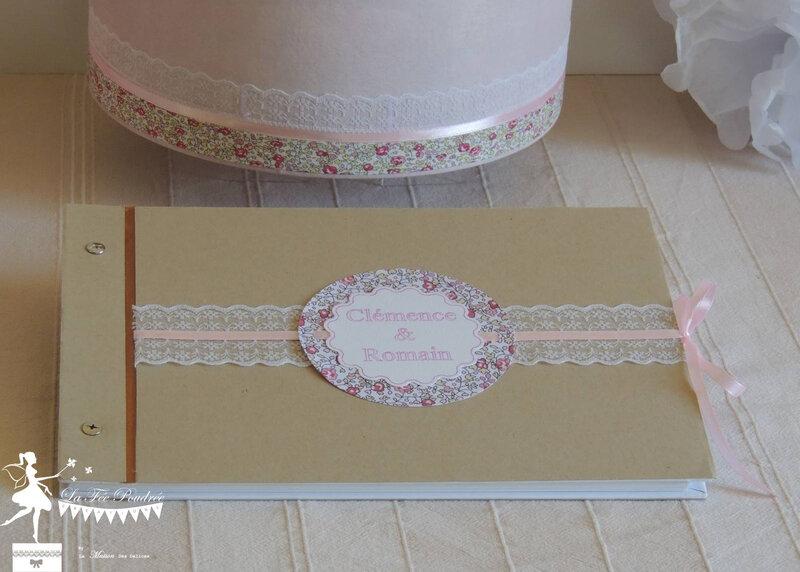 boite a souvenir mariage urne livre d'or Liberty Eloise rose moulin dentelle lace