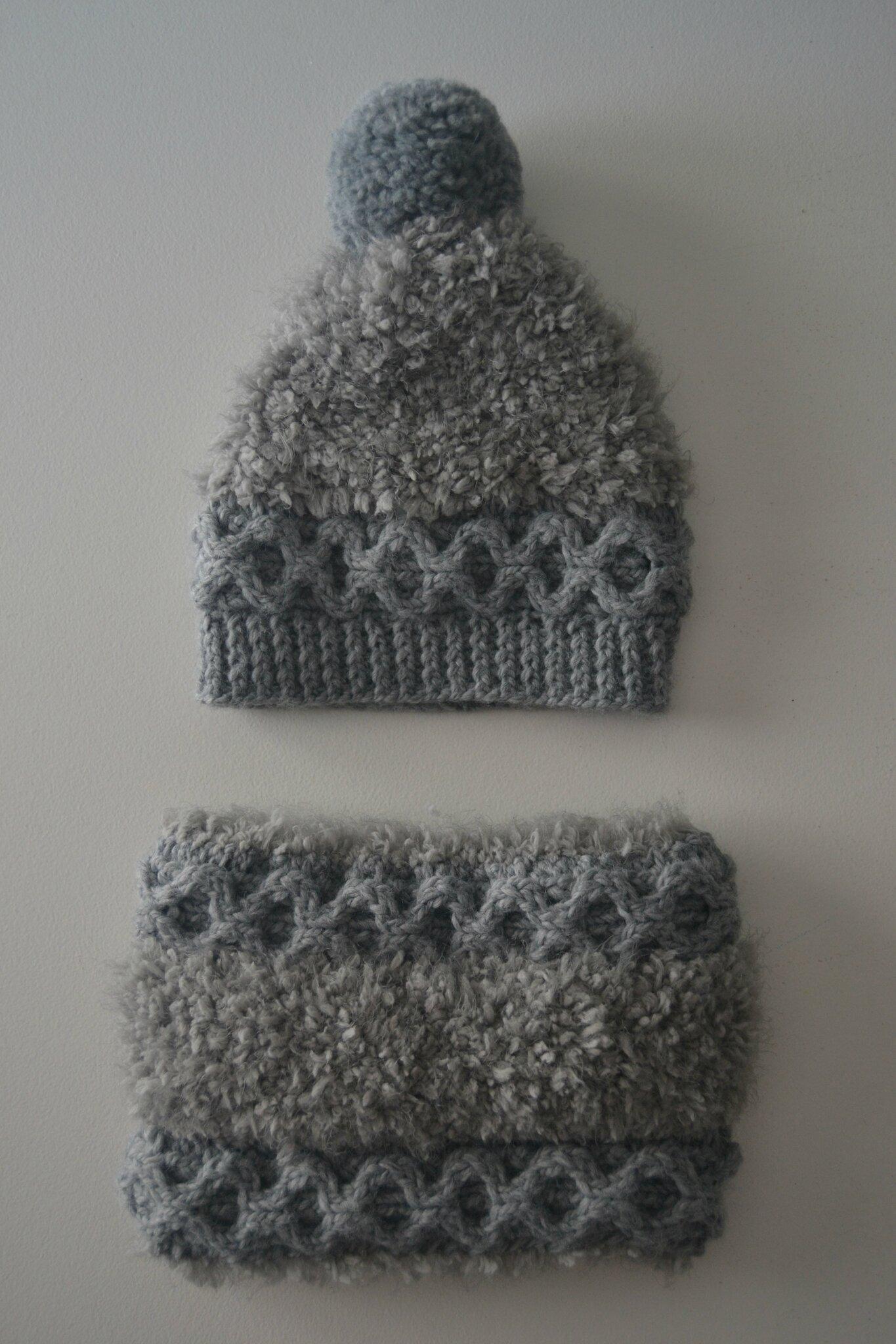 bonnet et snood gris