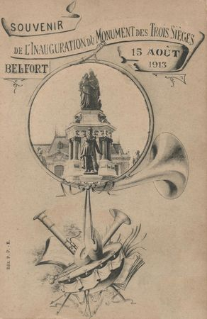 CPA Belfort Inauguration 3 Sièges 1913 Annonce 1
