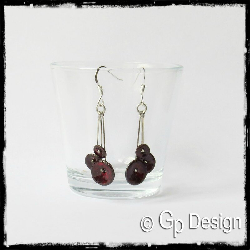 Boucles d'oreilles pendantes 3 petites fleurs émaux sur cuivre rouge argent 925 et 950
