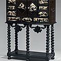 Cabinet en placage d'ébène, allemagne, xviie siècle