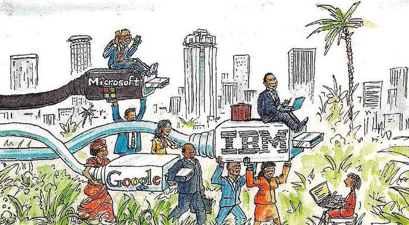dessin Afrique décollage économique récent - métropoles essor NTIC