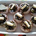 Champignons de paris farcis aux legumes, sans gluten, sans lait