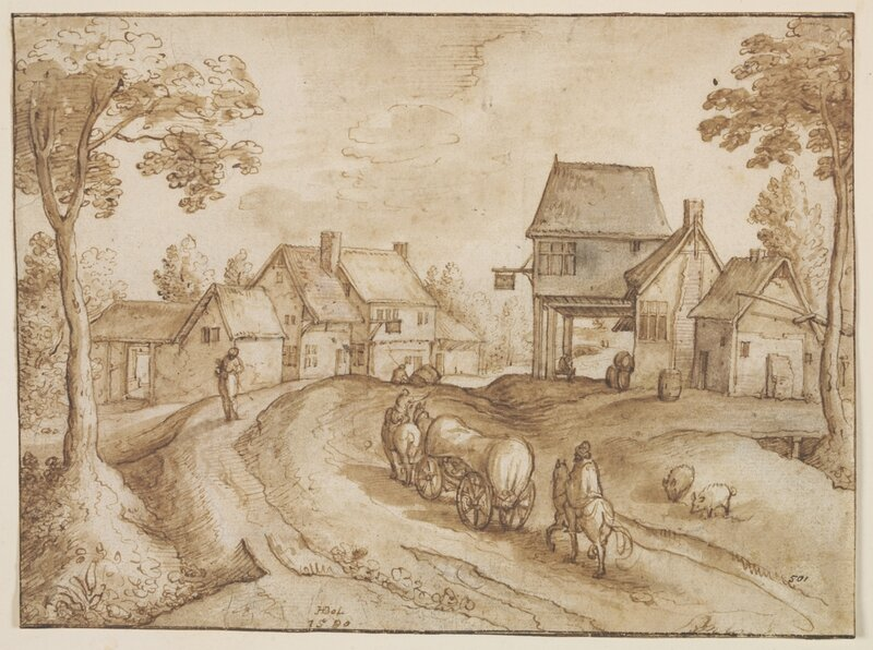 A_Covered_Wagon_Traversing_a_Road_Between_Two_Inns_Hans_Bol_1580_c_Victoria_and_Albert_Museum_London
