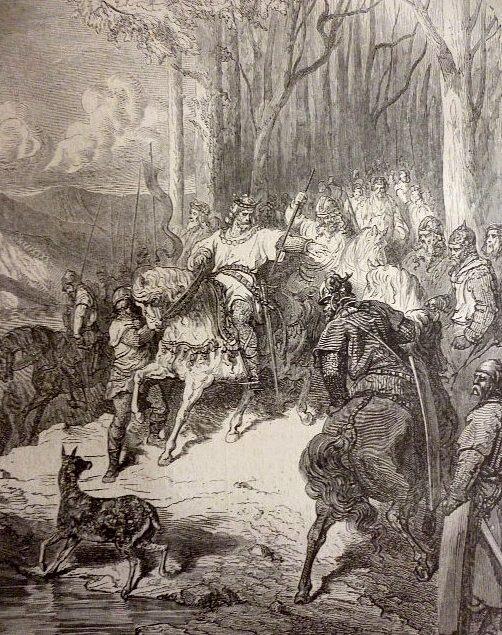 lors de la Bataille de Vouillé une biche indique un passage à gué sur la Vienne à Clovis Illustration de Gustave Doré (1880)