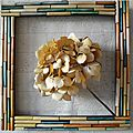 Hortensia en Cadre multicolore 35x35cm