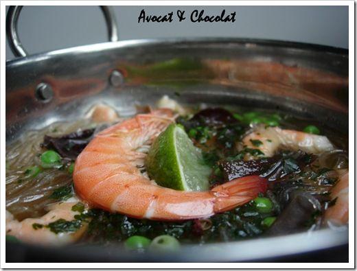 Soupe crevette ,vermicelle et champignons noirs (2)