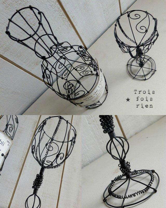 Le vin de l'oubli, bouteille fil de fer, verre fil de fer, wire bottle and wire glass (4)