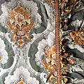 18-259 grand panneau tissu ancien napoleon iii avec son volant et galon agremente de pompons