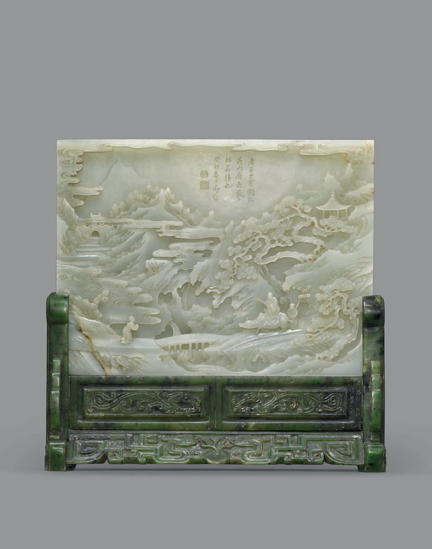 A superb finely carved and inscribed Imperial pale celadon jade rectangular table screen, Qianlong period (1736-1795)