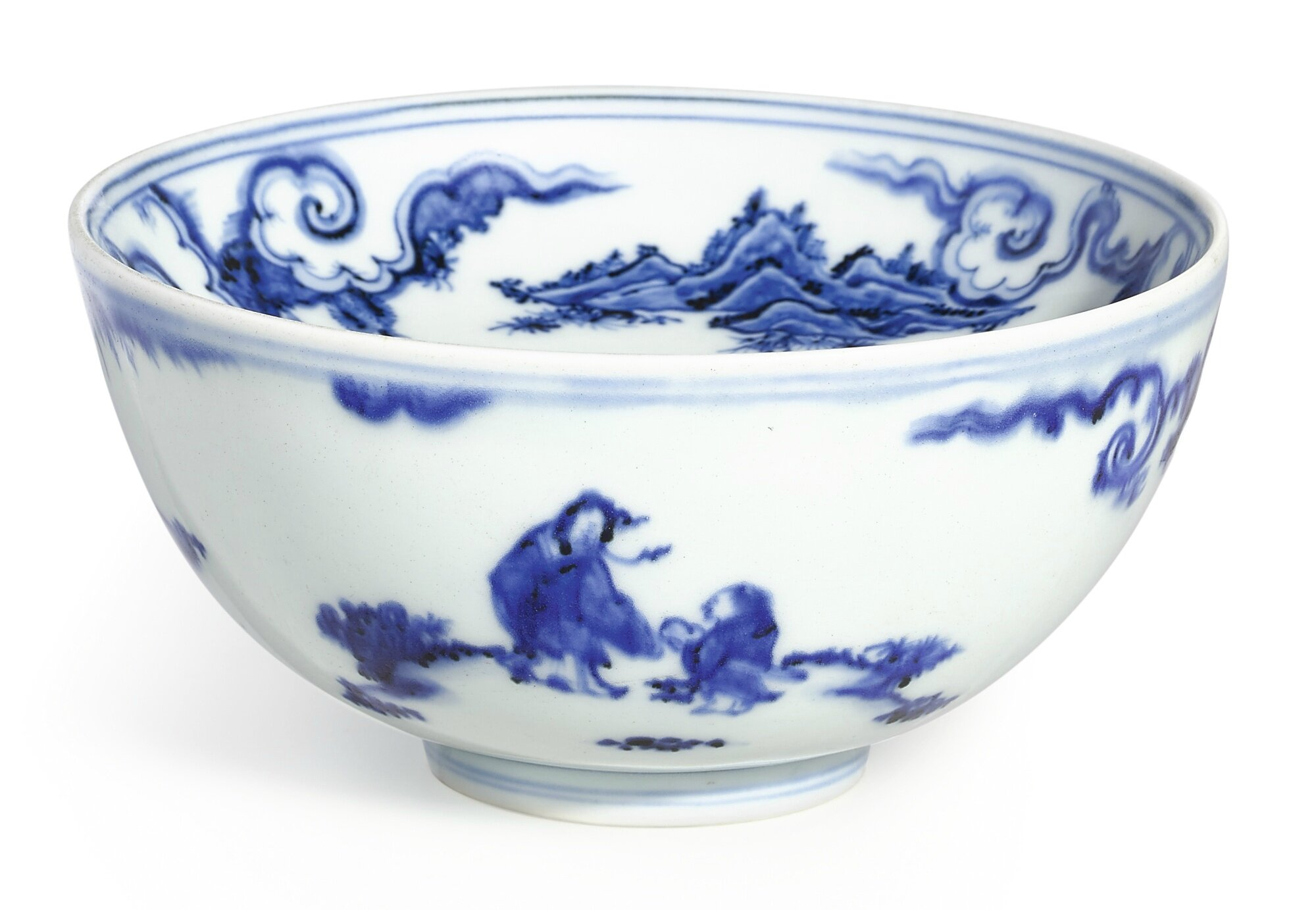 A rare blue and white 'immortals' warming bowl, Ming dynasty, Chenghua period (1465-1487)