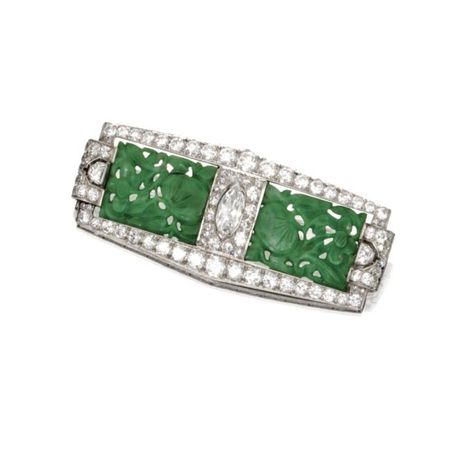 Platinum__Jadeite_and_Diamond_Brooch__Black_Starr___Frost__Circa_1925