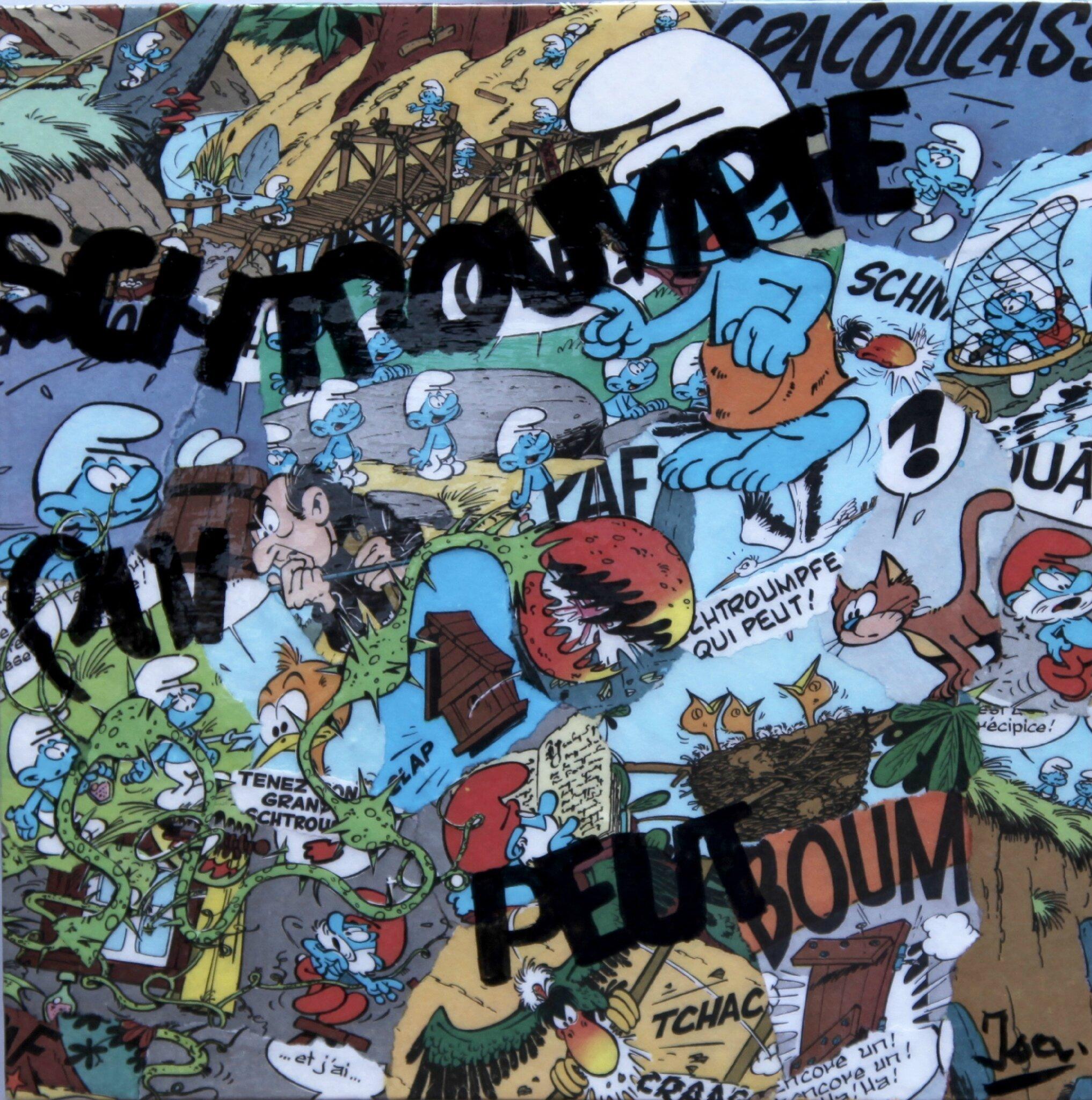 Schtroumpfe qui peut! Tableau avec collage de BD