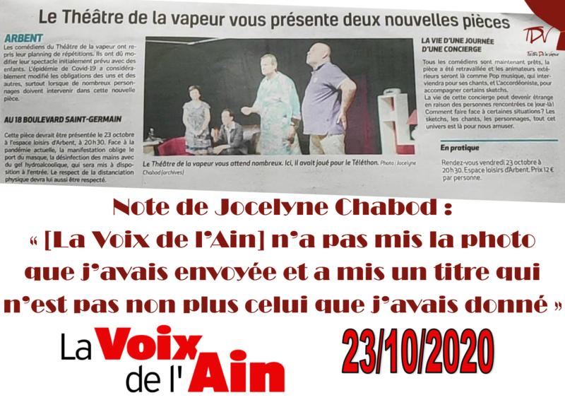 Article dans La Voix de l'Ain du 23-10-2020