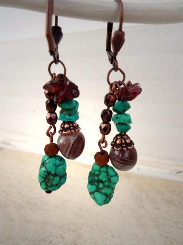 Boucles d'oreilles Turquoise & Améthyste à chevrons