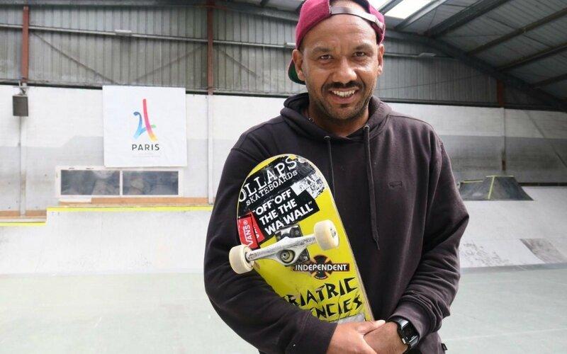 Chelles, le 11 septembre. Membre fondateur du skatepark Cosa Nostra, Mathias Thomer espère que l'extension du bowl permettra au site d'accueillir les épreuves de skate lors des JO 2024 à Paris. LP/Hendrik Delaire