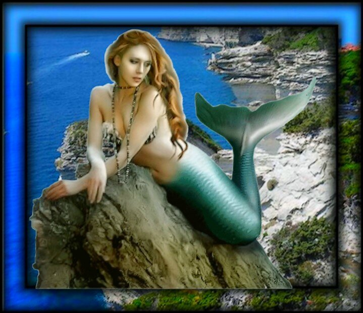 sirene verte sur falaise