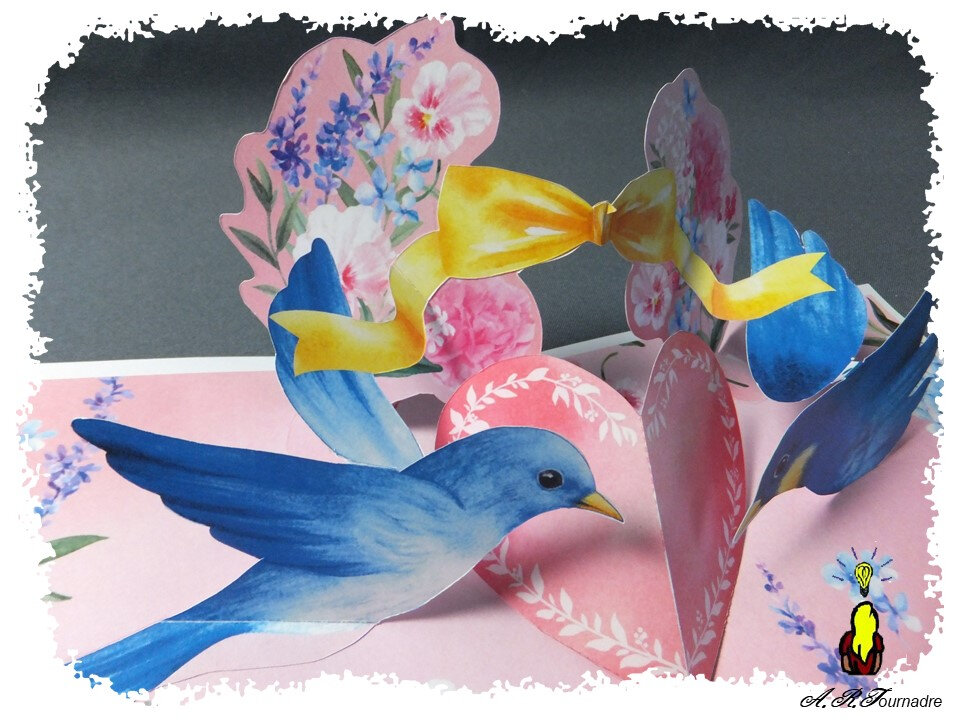 Carte Pop Up Les Colombes Bleues Les Passions D Art