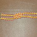 Bracelet noeud marin orange et jaune
