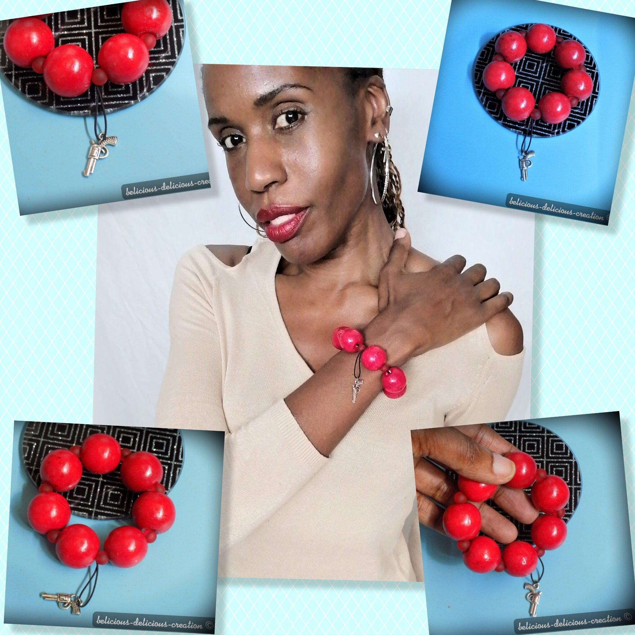 Original bracelet homme long 20cm Elastique !! RED !! avec grand perles en bois rouge belicious-delicious-creation