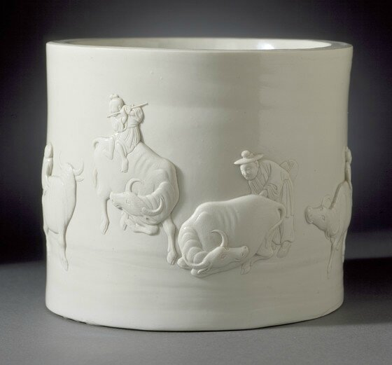 Chen Guozhi (China, active 1821-1861), Brush Pot (Bitong) with Herd Boys and Oxen, China, Qing dynasty, 1858