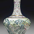 A famille rose baluster vase, jiaqing seal mark in iron-red