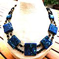 Collier imitation malachite et azurite