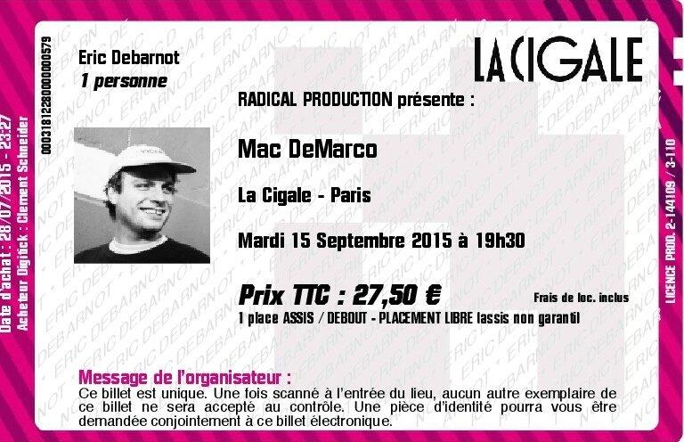 2015 09 Mac DeMarco La Cigale Billet