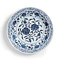 A fine large blue and white 'roses' dish, Ming dynasty, Yongle period