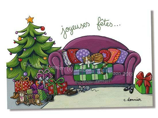 281-chat canapé noel