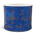 A powder-blue and gilt-decorated brushpot, qing dynasty, kangxi period (1662-1722)