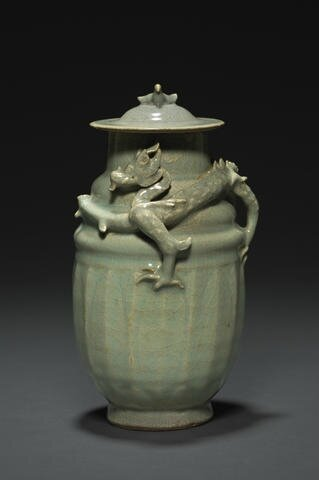 A rare Longquan celadon molded jar, Southern Song dynasty, 12th-13th century. Photo: Bonhams.