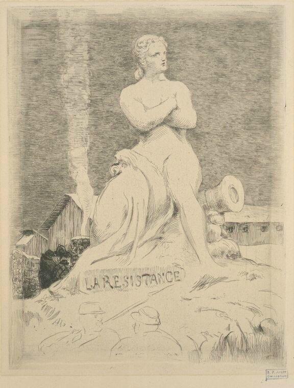 Bracquemond, La résistance selon Falguière 1870