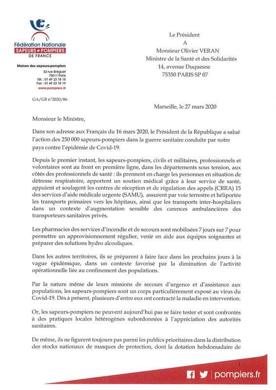 2020 03 27 Courrier du Président de la FNSPF au Ministre de la santé-1