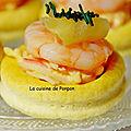 Amuse bouche aux crevettes, moutarde à la clémentine et spiruline