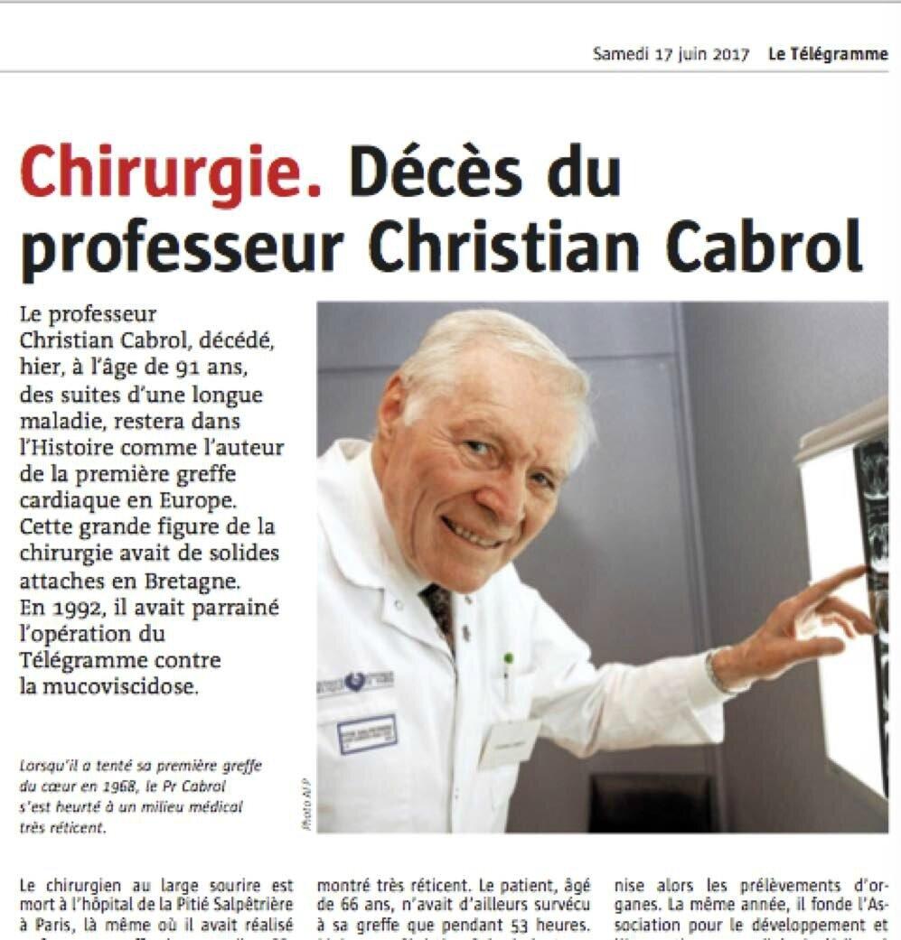 Le décès d'un éminent cardiologue : le professeur Cabrol