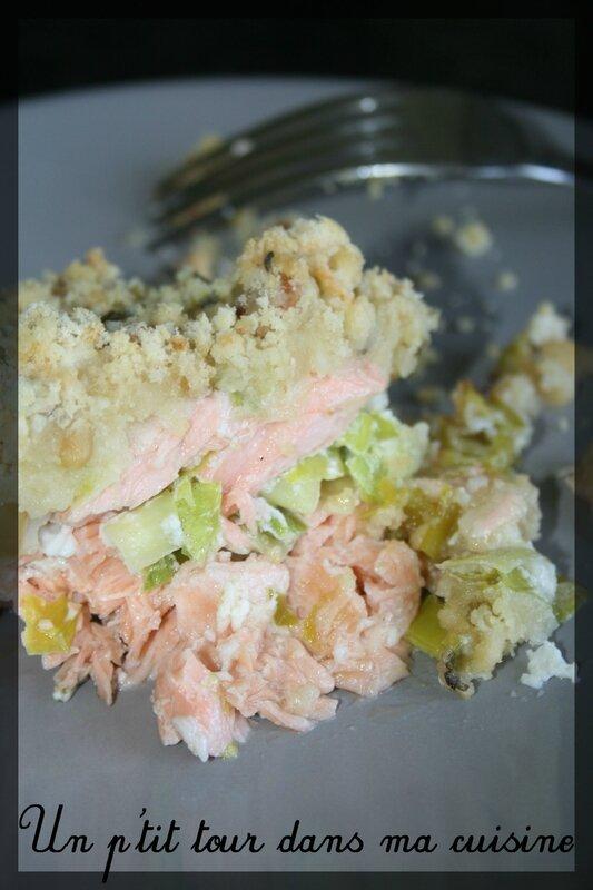 Crumble saumon poireaux