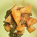 Ragoût de pommes de terre aux pousses d'épinards