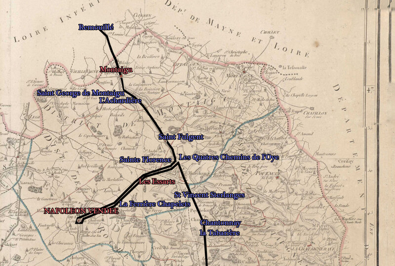 Carte 1 Itinéraire de Napoléon 1er accompagné de l'impératrice Joséphine en Vendée