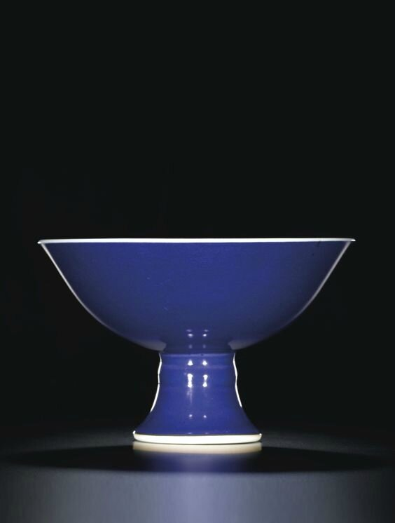 A blue-glazed stembowl, mark and period of Yongzheng (1723-1735)