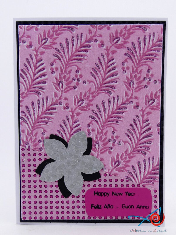 Carte rose et grise - Pink and grey card